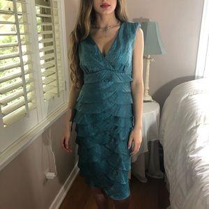 LAST 1 Deifik Blue Teal Ruffle Metallic Dress